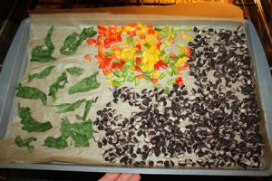 Spinach Peppers and Black Beans on Sheet